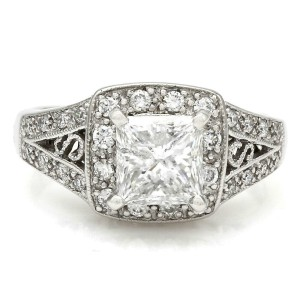 14kw Diamond Halo Engagement Ring with 1.58ct Princess Center