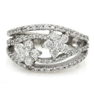 Platinum Diamond Flower Cluster Ring