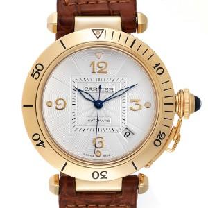 Cartier Pasha 38mm Silver Dial 18K Yellow Gold Mens Watch W3004856