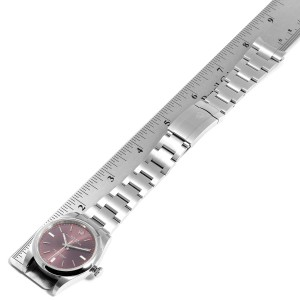 Rolex Oyster Perpetual 39 Red Grape Dial Steel Mens Watch 114300