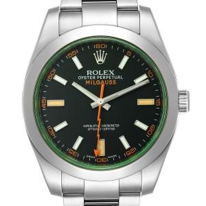 Rolex Milgauss Green Crystal Steel Mens Watch 116400V Box Card