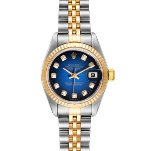 Rolex Datejust Steel Yellow Gold Vignette Diamond Ladies Watch 79173 Box Papers