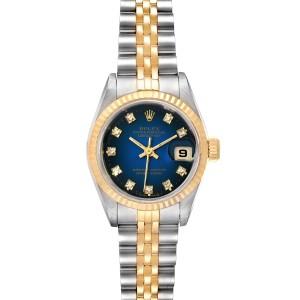 Rolex Datejust Steel 18K Yellow Gold Vignette Diamond Ladies Watch 69173