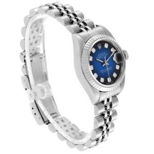 Rolex Datejust Steel White Gold Blue Vignette Diamond Ladies Watch 79174