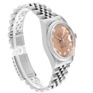 Rolex Datejust Steel White Gold Salmon Diamond Dial Mens Watch 16234