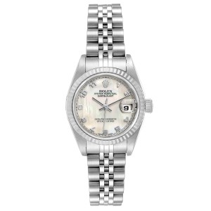 Rolex Datejust Steel White Gold Mother of Pearl Ladies Watch 79174