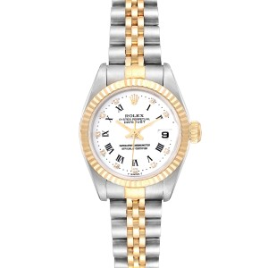 Rolex Datejust Steel Yellow Gold Roman Diamond Dial Ladies Watch 69173 Box Paper