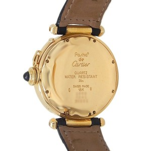 Cartier Pasha 18k Yellow Gold Leather Quartz Ivory Men's Watch 30001