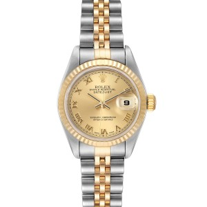 Rolex Datejust Steel Yellow Gold Champagne Roman Dial Ladies Watch 69173