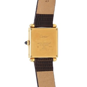 Cartier Tank Obus 18k Yellow Gold Brown Leather Quartz Silver Ladies Watch 1630