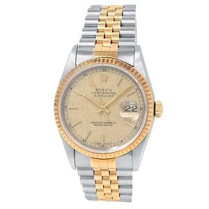 Rolex Datejust 18k Yellow Gold Steel Jubilee Auto Champagne Men's Watch