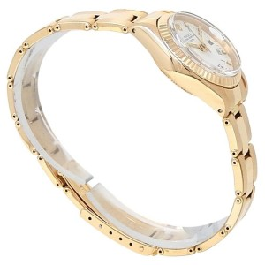 Rolex Date 18k Yellow Gold Oyster Automatic White Ladies Watch