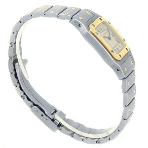Cartier Santos Galbee 18k Yellow Gold Stainless Steel White Ladies Watch 1057930
