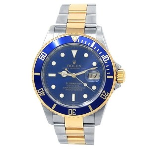 Rolex Submariner 18k Yellow Gold Steel Oyster Automatic Blue Men's Watch 16613