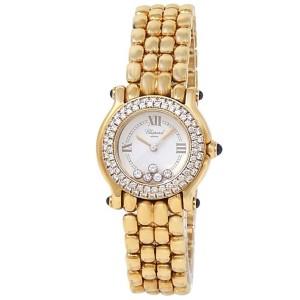Chopard Happy Sport 18k Yellow Gold Quartz Diamond White Ladies Watch 27/6151-23