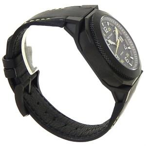 Waltham AeroNaval Black Stainless Steel Leather Auto Black Men's Watch AN-01