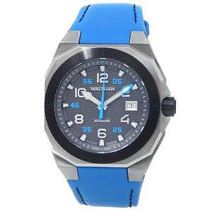 Waltham AeroNaval Stainless Steel Blue Leather Automatic Black Men's Watch AN-01