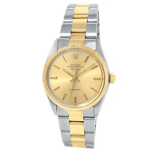 Rolex Air-King 14k Yellow Gold Steel Oyster Automatic Champagne Men's Watch 5501