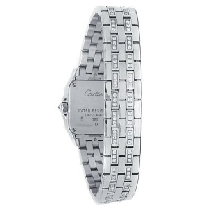 Cartier Santos Demoiselle 18k White Gold Diamonds Silver Ladies Watch WF9003Y8