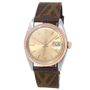 Rolex Datejust 18k Yellow Gold Steel Leather Auto Champagne Men's Watch 1601