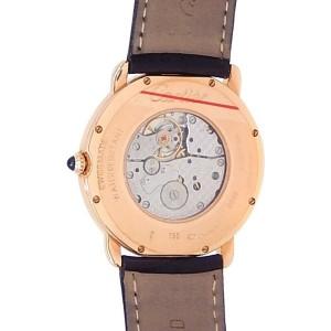 Cartier Ronde Louis Cartier 18k Rose Gold Leather Silver Men's Watch W6800251