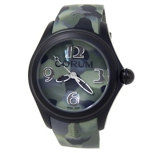 Corum Bubble Black PVD Stainless Steel Rubber Green Camouflage Watch