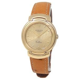 Rolex Cellini 18k Yellow Gold Brown Leather Quartz Champagne Ladies Watch 6622