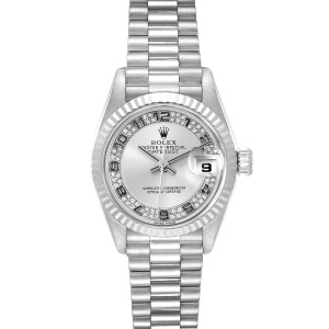 Rolex President White Gold Myriad Diamond Dial Ladies Watch 69179 Box Papers
