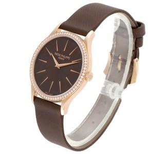 Patek Philippe Calatrava Rose Gold Brown Dial Ladies Watch 4897R Unworn