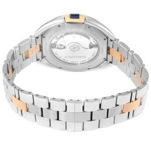 Cartier Cle 40 Steel Rose Gold Silver Dial Mens Watch W2CL0002