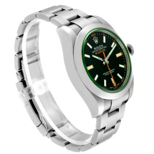 Rolex Milgauss Blue Dial Green Crystal Steel Mens Watch 116400GV