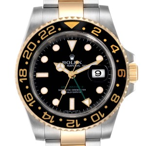 Rolex GMT Master II Yellow Gold Steel Mens Watch 116713 Box Papers
