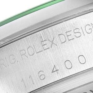 Rolex Milgauss Blue Dial Green Crystal Steel Mens Watch 116400V