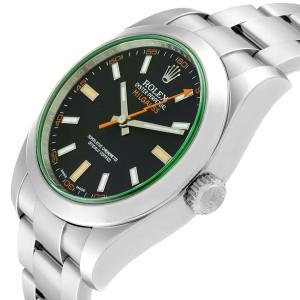 Rolex Milgauss Black Dial Green Crystal Steel Mens Watch 116400V Box Card