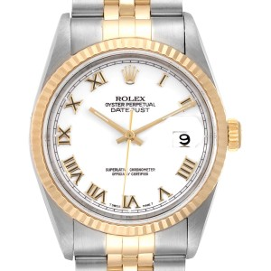 Rolex Datejust Steel Yellow Gold White Roman Dial Mens Watch 16233 Papers
