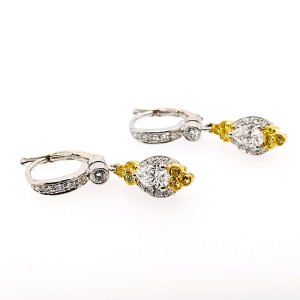 Charles Krypell Precious Pastel 1-9084-PLWY 18k Yellow Gold Fancy Yellow & White Diamonds Earrings