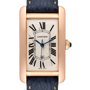 Cartier Tank Americaine Large 18K Rose Gold Blue Strap Watch W2609156