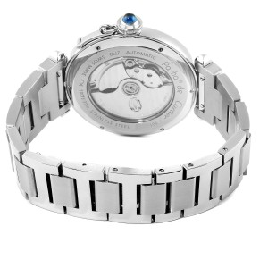 Cartier Pasha 42 Silver Dial Exhibition Case Back Steel Mens Watch W31072M7