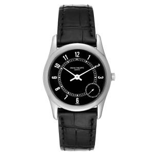 Patek Philippe Calatrava White Gold Black Dial Automatic Mens Watch 5000