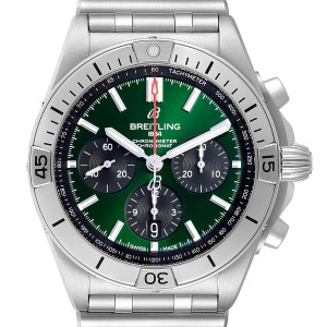 Breitling Chronomat B01 Green Dial Steel Mens Watch AB0134 Box Papers