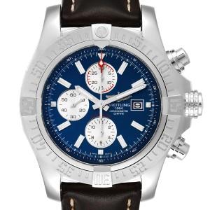 Breitling Aeromarine Super Avenger Brown Strap Watch A13371 Box Card