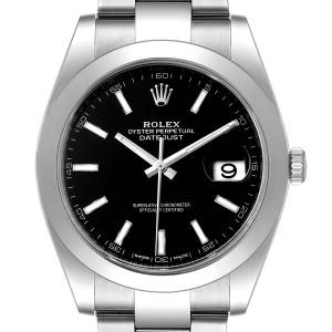 Rolex Datejust 41 Black Dial Steel Mens Watch 126300 Box Card