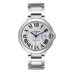 Cartier Ballon Bleu 42 Steel Automatic Mens Watch W69012Z4 Box Papers