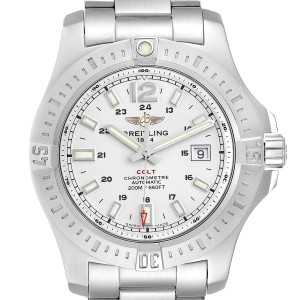Breitling Colt White Dial Automatic Steel Mens Watch A17388 Box Card