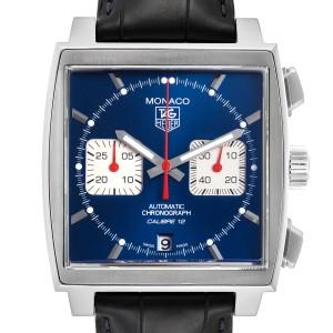 Tag Heuer Monaco Calibre 12 Blue Dial Black Strap Mens Watch CAW2111 Box Card
