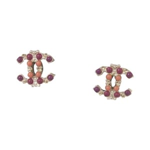 Chanel Gold Plated CC Logo Earrings