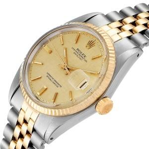 Rolex Datejust 36 Steel Yellow Gold Linen Dial Mens Watch 1603 Box