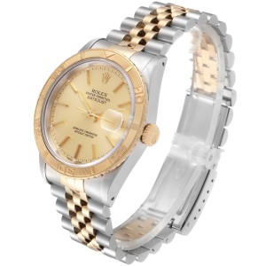 Rolex Datejust Turnograph Steel Yellow Gold Mens Watch 16263 Box