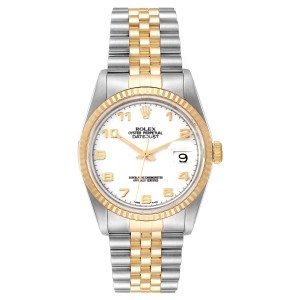 Rolex Datejust Steel Yellow Gold White Dial Mens Watch 16233