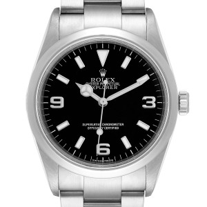 Rolex Explorer I Black Dial Stainless Steel Mens Watch 114270 Box Card